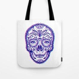 Sugar Skull (Calavera) Chromatic Aberration - Cyan Magenta Tote Bag
