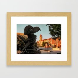 Kansas Jayhawk Statue and University Skyline Framed Art Print