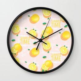 Watercolor Lemon Pattern Wall Clock