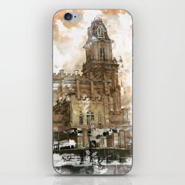 Manti LDS Temple Watercolor Photo iPhone Skin