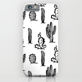 Black cactus seamless pattern on white background. iPhone Case