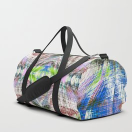 geometric symmetry pattern abstract background in pink blue green brown Duffle Bag