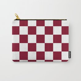 Checkered - White and Burgundy Red Carry-All Pouch