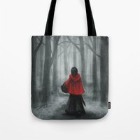 red hood Tote Bags featuring Red Hood by Svenja Gosen