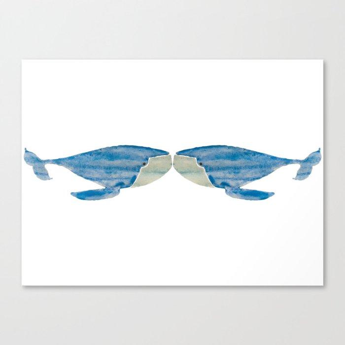 VINTAGE WHALE WATERCOLOR Canvas Print