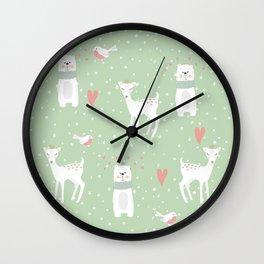 Fawn and bear mint green Wall Clock