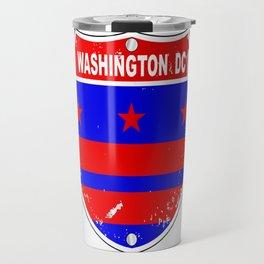 Washington DC Flag Icons As Interstate Sign Travel Mug