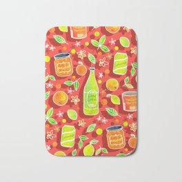 Lively Citrus Pop Art on Coral Red Bath Mat