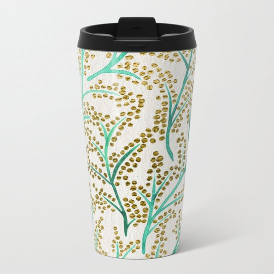 Green & Gold Branches Metal Travel Mug
