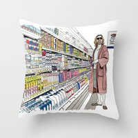 lebowski Throw Pillows featuring Jeffrey Lebowski and Milk. by DJayK