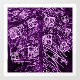 Mosaic of Owls V2 Purple Art Print