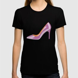 Classic High heeled shoe in bodacious pink T-shirt