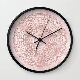 Misty pink marble rose gold mandala Wall Clock