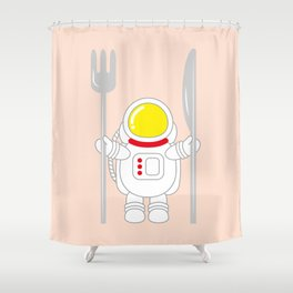 Space Odyssey | Astronaut Eats | Space Utensils | Galaxy Fork and Knife | pulps of wood Shower Curtain