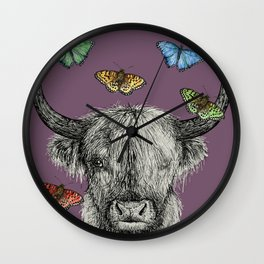 Heather the Highland Cow, Butterflies, pen and ink illustrations, purple Wall Clock