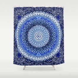 Cobalt Tapestry Mandala Shower Curtain