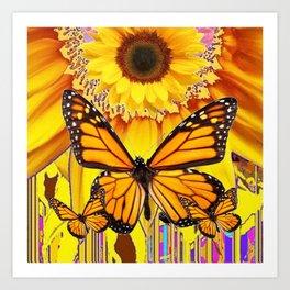 YELLOW SUNFLOWER ART & MONARCH BUTTERFLIES ABSTRACT Art Print