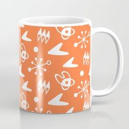 Mid Century Modern Atomic Boomerang Pattern Orange Coffee Mug