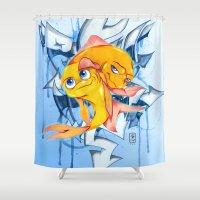 bucky Shower Curtains featuring Bucky & Ace by Paz Art