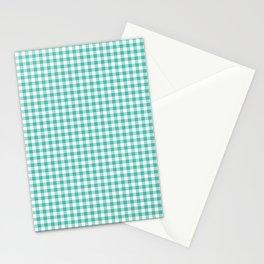 Modern green white checker picnic stripes pattern Stationery Cards