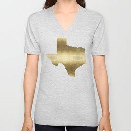 texas gold foil print state map Unisex V-Neck