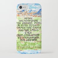 bible verse iPhone & iPod Cases featuring Bible Verse Illustration Psalm 90:2, Picture of Mountains by ArtistAdron