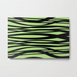 Graphic Design Wave Stripes green Metal Print