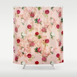 faded floral wallpaper Shower Curtain