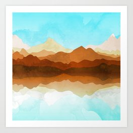 Western Sky Reflections In Watercolor Art Print