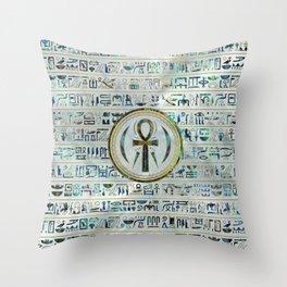 Abalone Shell Egyptian Ankh Cross symbol Throw Pillow