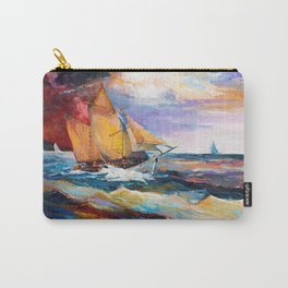 Fishing boats in the sea at sunset Carry-All Pouch