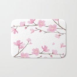Square- Cherry Blossom - Transparent Background Bath Mat