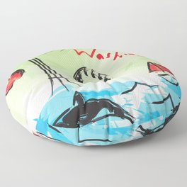 City scape - Seattle, Washington Floor Pillow