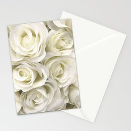 Ivory White Roses Stationery Cards