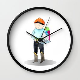 Red haired pirate | watercolor portrait Wall Clock