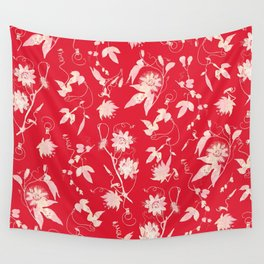 Red Passion Flowers Floral Pattern Wall Tapestry