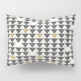 Geometric Triangle Charcoal Gold And White Pattern Pillow Sham