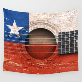 Old Vintage Acoustic Guitar with Chilean Flag Wall Tapestry
