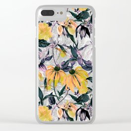 Abstract pattern of yellow blooms Clear iPhone Case