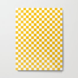 White and Amber Orange Checkerboard Metal Print