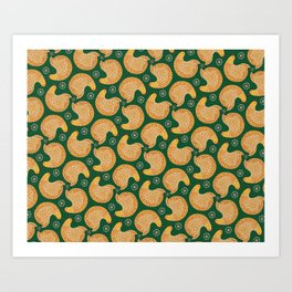 Yellow hen pattern on green Art Print
