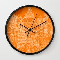 Paris! Orange Sun Wall Clock