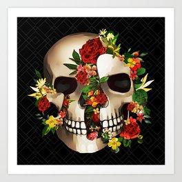 Blooming Gothic Skull Folk Art Art Print