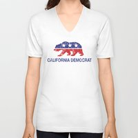 political V-neck T-shirts featuring California Political Democrat Bear Distressed by Democrat