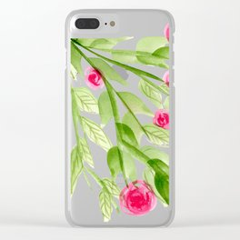 Pink Rosebuds in Watercolor Clear iPhone Case
