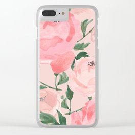 Watercolor Peonies with Blush Background Clear iPhone Case