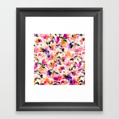 Chic Floral Pattern Pink Orange Pastel Watercolor Framed Art Print