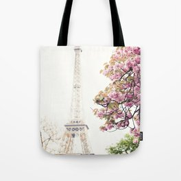 Cherry blossoms in Paris, Eiffel Towerr Tote Bag