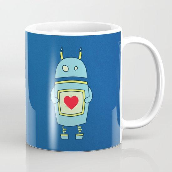 Blue Cartoon Robot With Heart Mug