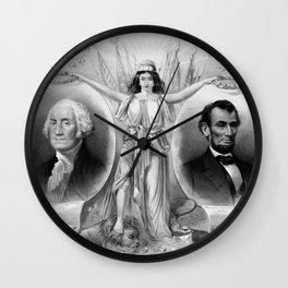 Washington and Lincoln Wall Clock